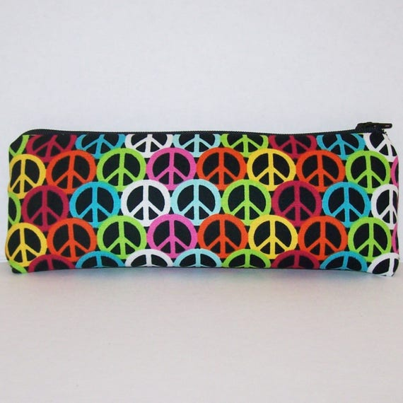 "Peace Signs Pipe Pouch - Pipe Case - Glass Pipe Bag - Hippie - Padded Pipe Pouch - Stoner - Stash Bag - Smoke Accessory - 7.5"" x 3"" LARGE"
