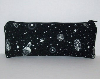 """GLOW in the DARK, Pipe Pouch, Space Pipe Case, Glass Pipe Bag, Planets, Padded Pipe Pouch, Stoner, 420, Weed, Smoke Accessory - 7.5"""" LARGE"""