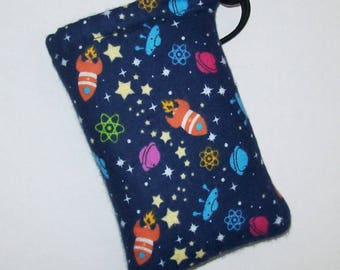 """Padded Pipe Pouch, Rockets & Spaceships, Pipe Bag, Pipe Case, Glass Pipe Cozy, Space Bag, Stoner Gift, Cute Bag, Pipe Holder - 5"""" DRAWSTRING"""