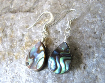 Abalone Earrings Paua Shell earrings silver tear drop lightweight dangle earrings