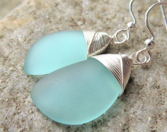 sea glass STERLING SILVER earrings, recycled beach glass jewelry,