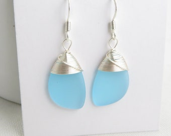 blue sea glass earrings cultured frosted glass beach jewelry bridesmaid earrings