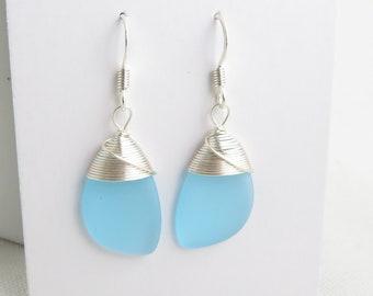 sea glass earrings cultured seaglass blue colored beach glass jewelry  earrings-bridesmaid earrings- teardrop  earrings