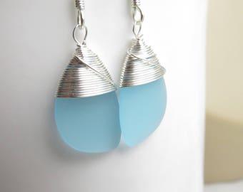light turquoise earrings seaglass earrings beach glass jewelry bridesmaid wedding bridal wire wrapped teardrop