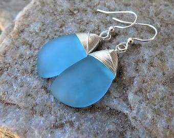 Blue sea glass earrings, recycled  beach glass jewelry