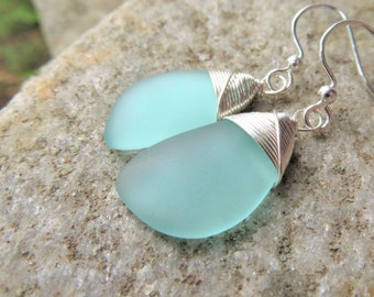 blue sea glass earrings, cultured mint beach jewelry - silver wire wrapped - choice of earrings, necklace or both