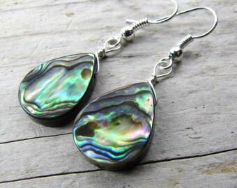 Abalone Earrings Paua shell earrings silver tear drop lightweight dangle earrings