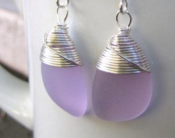 purple earrings lilac sea glass beach glass jewelry  earrings-bridesmaid earrings- teardrop  earrings