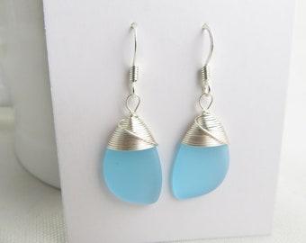 Wire Braided Beach Stone Teal Blue Sea Glass Teardrop Weave Wire Silver Dangle Earrings