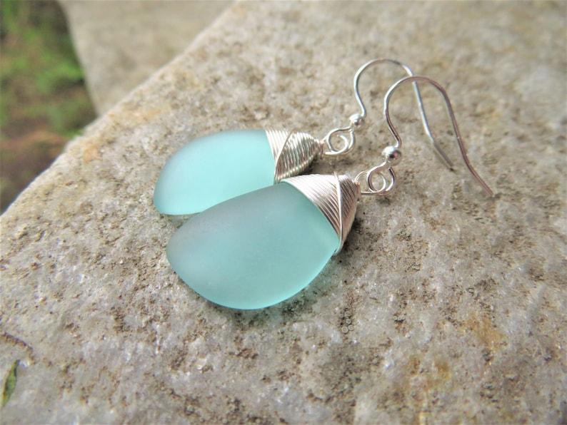 blue sea glass earrings cultured mint beach jewelry  silver Aqua
