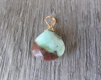 Chrysoprase Pendant Semi Precious Gemstone Charm 14 K Gold Filled wire wrapped  Chrysoprase jewelry One of a Kind