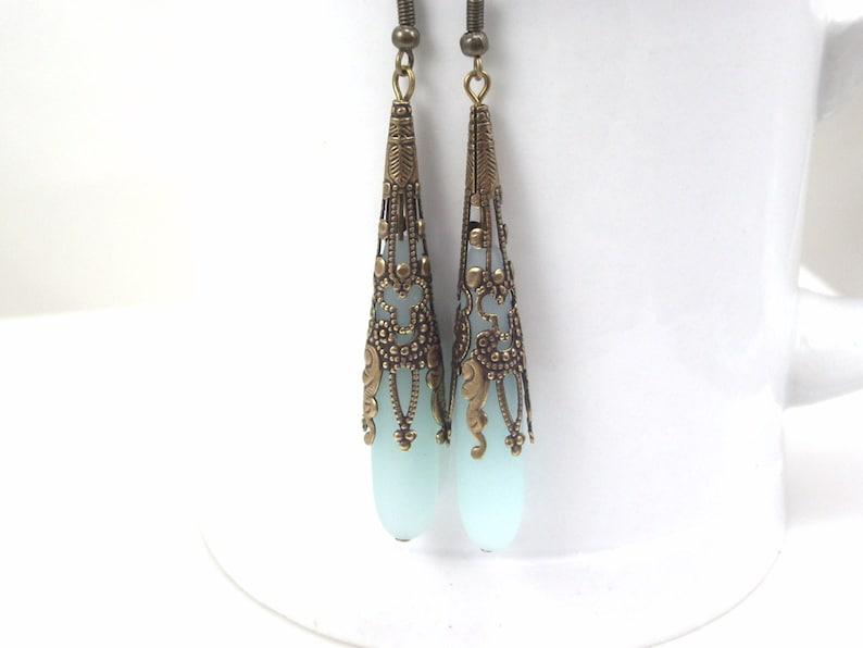 long sea glass earrings  Victorian style jewelry  antique Pale blue