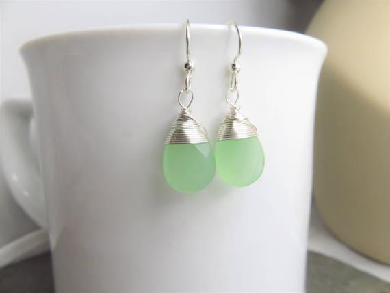 Seafoam grüne Ohrringe-Silber Draht gewickelt Ohrringe   Etsy