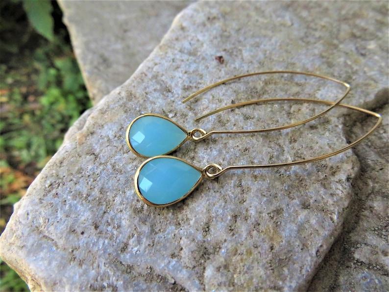 Long gold earrings  pink green or blue glass teardrop Sky Blue