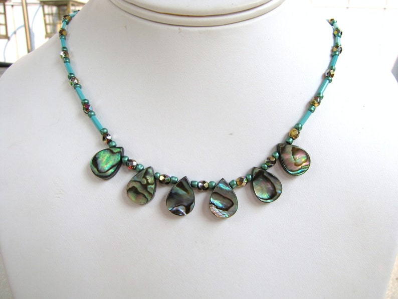 Abalone Necklace turquoise teardrop single strand 18 12 inches long
