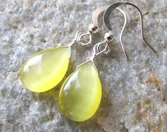 yellow earrings Lemon Drop Yellow and Silver Teardrop Bridesmaids cats eye  wedding  dangle earrings
