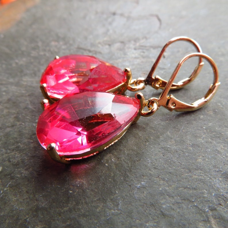 pink hombre gold glass teardrop earrings choice of ear wire style light to dark