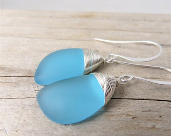 turquoise blue sea glass earrings - cultured frosted beach jewelry -silver wire wrapped