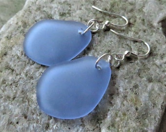 light sapphire blue sea glass earrings