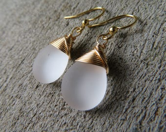 Frosty white earrings opaque glass smooth  teardrop white jewelry gold wire wrapped