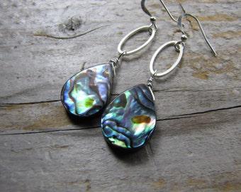 Abalone Earrings Paua shell earrings silver hoop earrings teardrop dangle earrings
