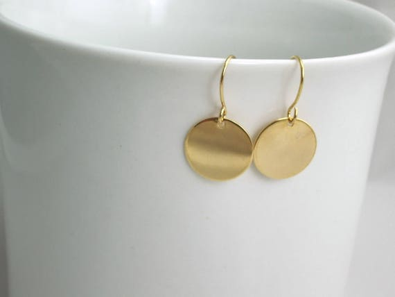 "Gold Disc Earrings   12mm Or 1/2"" Gold Drops by Etsy"