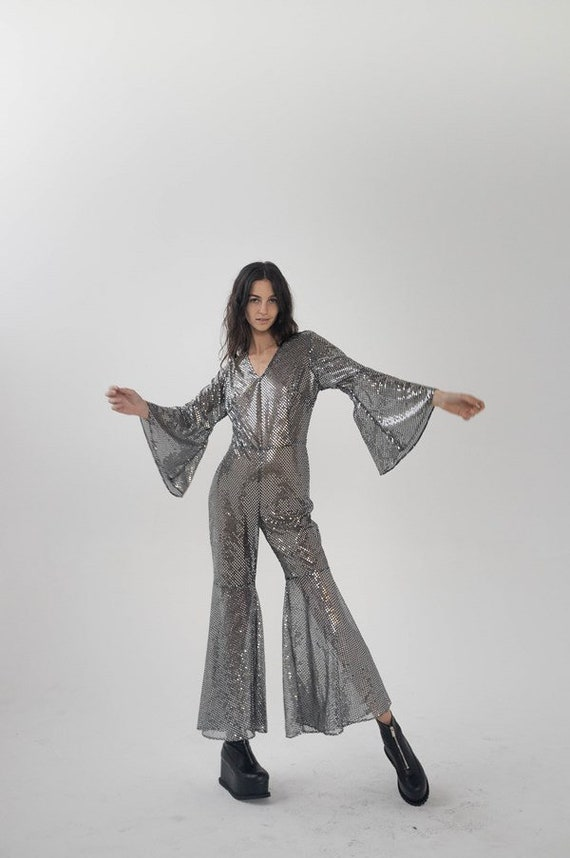 Silver Sequin Disco Bell Bottom Jumpsuit / Size Sm