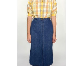 Blue Denim Midi Skirt by Koret City Blues / Union Made / Small