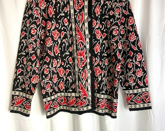 1960's Rose Deco Print Knit Double Breasted Cardigan Sweater