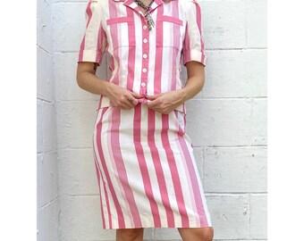80's Leslie Faye Pink Cotton Stripe Skirt Set / Size 4