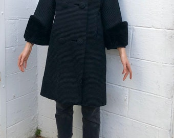 1950's Belgium Woven Len Artel Hans Tailored Coat / Faux Fur Cuffs / Wool and Silk
