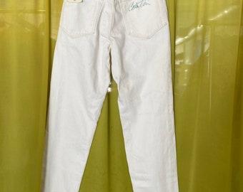 Hand Signed Calvin Klein Vintage Deadstock White Chalk High Waist Denim / 27