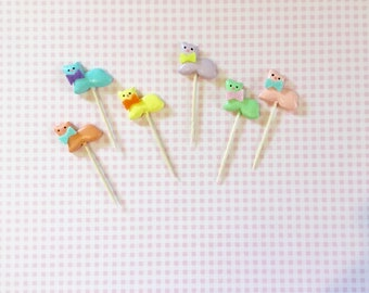 Cute Cat Cupcake Toppers/Cat Picks/Kitty Toppers