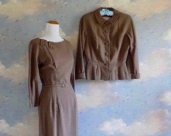 50s Mocha Knit Dress and Jacket Set - Abe Schrader for Max Azen Suit- Small