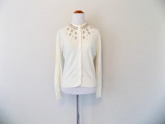 Ivory Beaded Cardigan - Vintage 60s Stylebest Knit