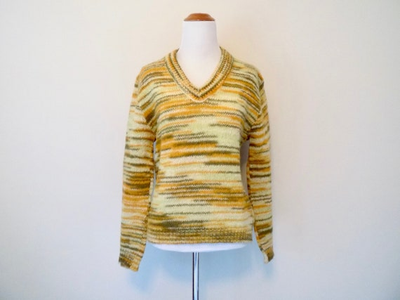 60s Striped Mohair Sweater - 'Old Colony' Green /