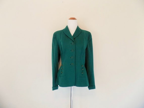 Emerald Green 40s Gabardine Jacket - Size Medium