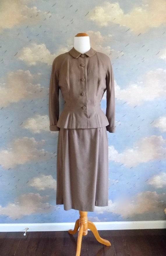 50s Mocha Knit Dress and Jacket Set - Abe Schrader