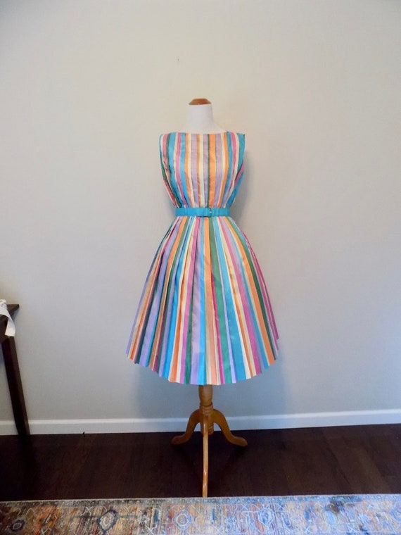 Vintage 50s Jerry Gilden Rainbow Striped Dress - S