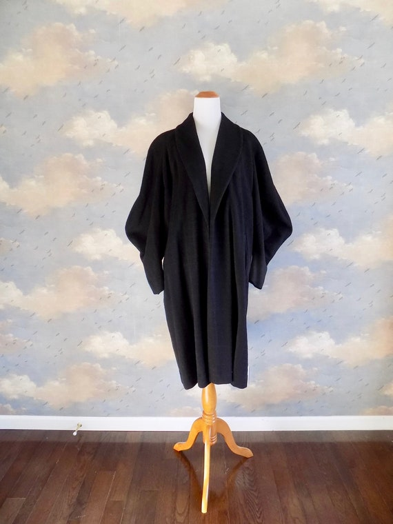 Mid Century Black Wool Cocoon Topper Coat - Size M