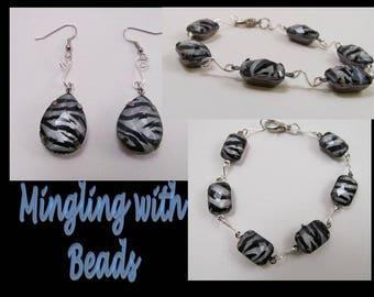 Zebra crystal set earrings bracelet