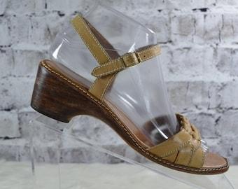 25de757672 vintage 1980s 9 West tan leather wood buckle sandals made Brazil 7.5B