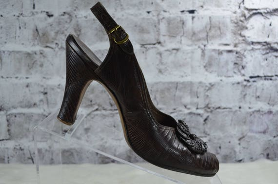 vintage 1940s 40s Rikes brown reptile skin croc s… - image 1