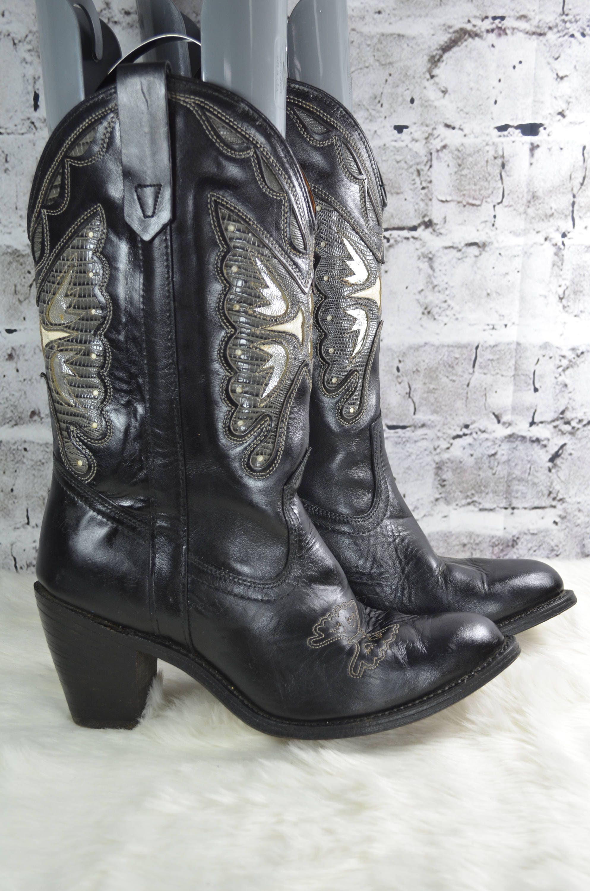 688bd9928e2 vintage Miss Capezio 580 butterfly black leather western cowgirl cowboy  boots 9M