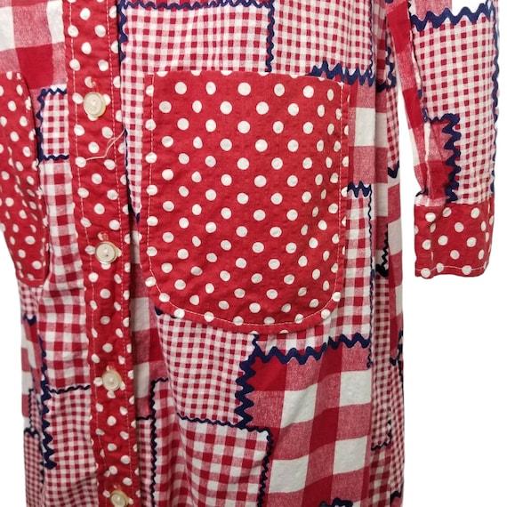 Vtg 60s patchwork gingham long sleeve maxi dress - image 4