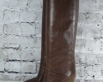 vtg Adigi 80s tall womens brown leather high stacked heel knee high boots Italy