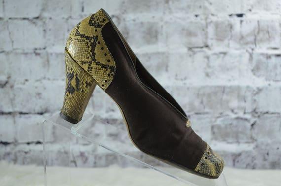 vintage 1940s Rike Kumler Fabric SnakeskinPumps He