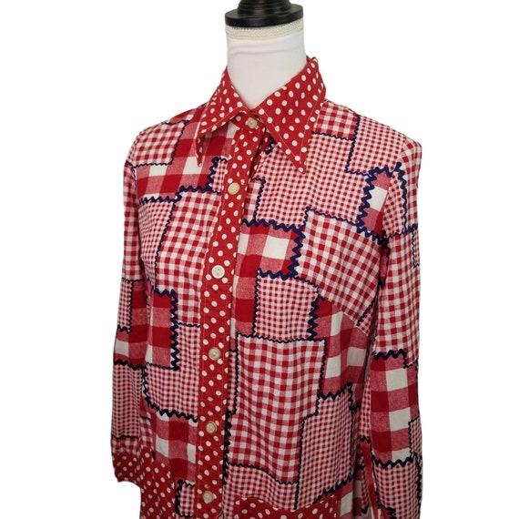 Vtg 60s patchwork gingham long sleeve maxi dress - image 3
