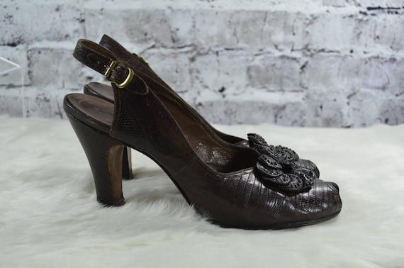 vintage 1940s 40s Rikes brown reptile skin croc s… - image 3