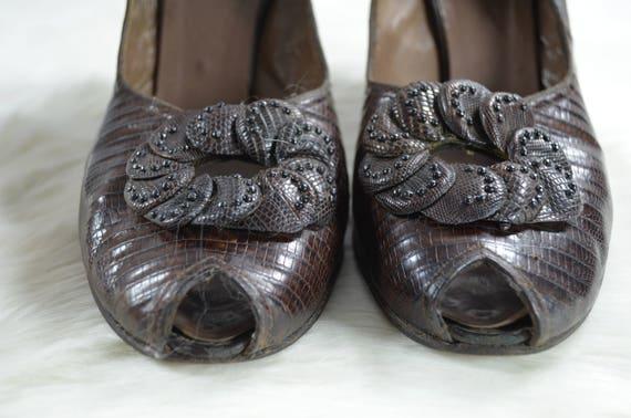 vintage 1940s 40s Rikes brown reptile skin croc s… - image 4